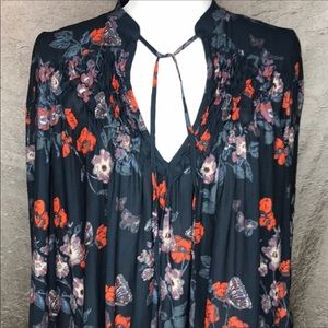 Free People Floral Crepe Pebble Dress Tunic Sz Sm